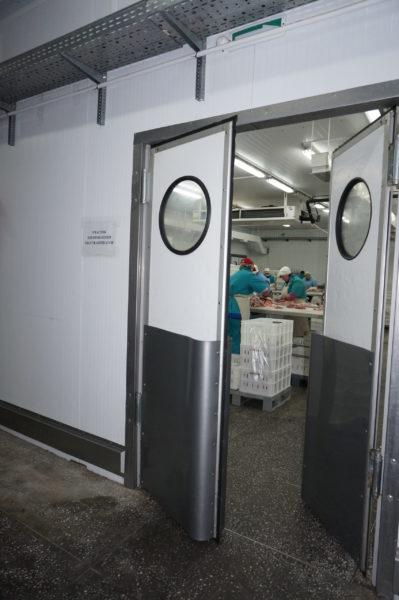 Маятниковые двери с иллюминатором